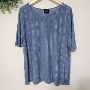 Anthro W5 Chambray Color Textured Short Sleeve Top